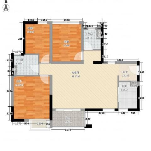 万科金域国际3室1厅2卫1厨98.00㎡户型图