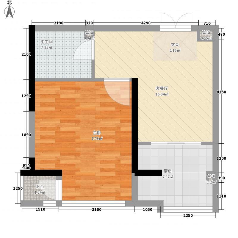 颐和香榭65.00㎡户型1室1厅1卫1厨