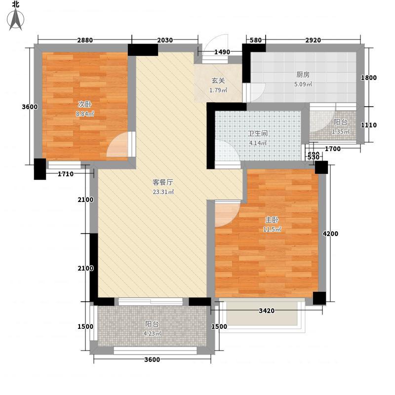 祥生柏景湾二期COLA81.00㎡J户型2室2厅1卫1厨