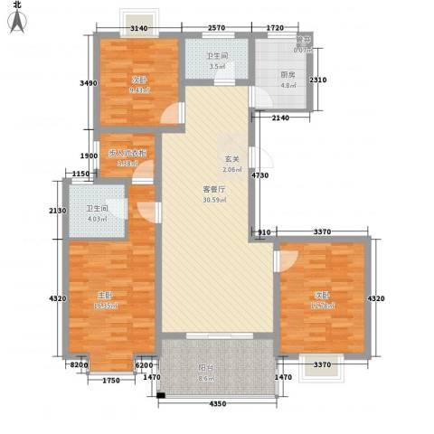 天力・正和花园3室1厅2卫1厨134.00㎡户型图