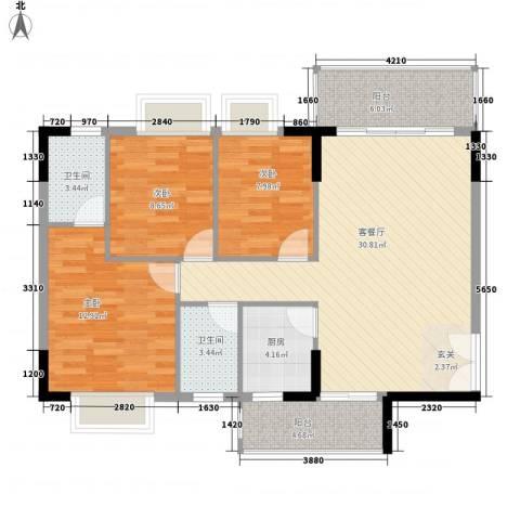 龙科花园3室1厅2卫1厨115.00㎡户型图