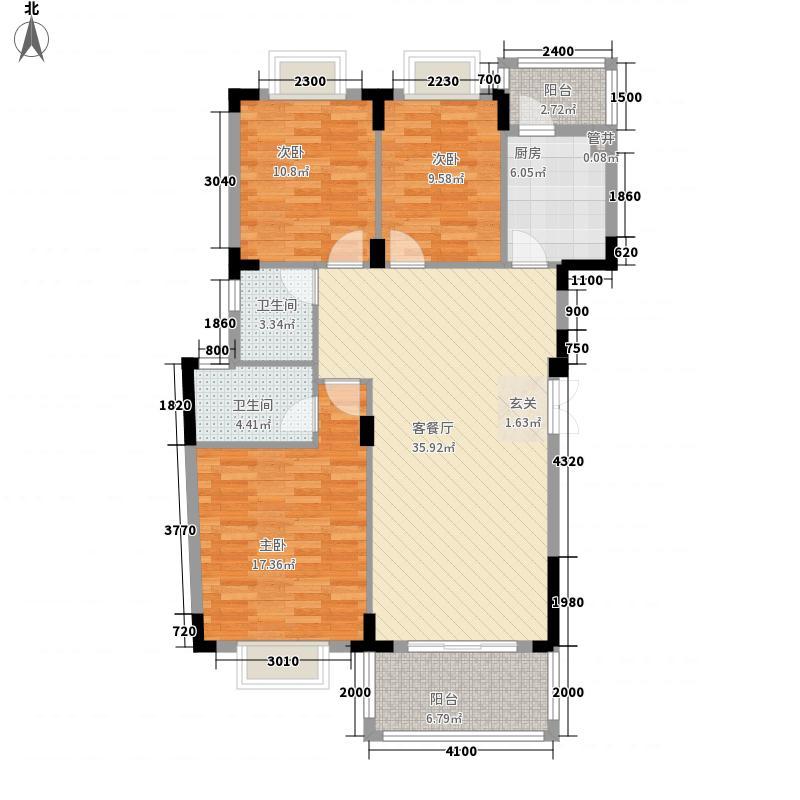 大信芊翠家园124.50㎡D户型3室2厅2卫1厨