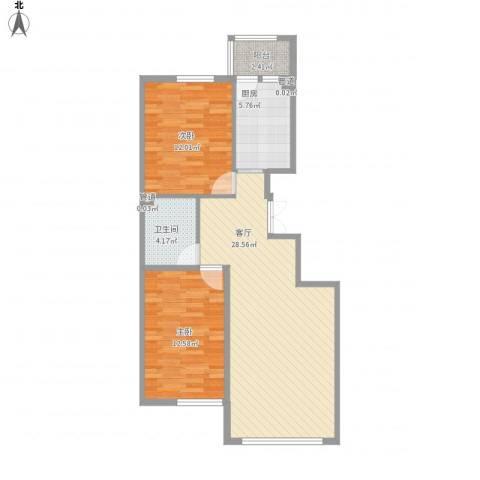 香悦蓝天下2室1厅1卫1厨91.00㎡户型图