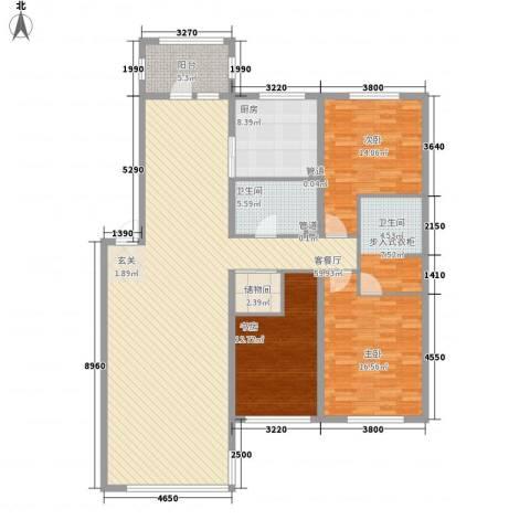 世纪花园3室1厅1卫1厨132.60㎡户型图
