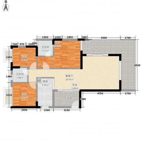 金碧时代广场3室1厅2卫1厨127.00㎡户型图