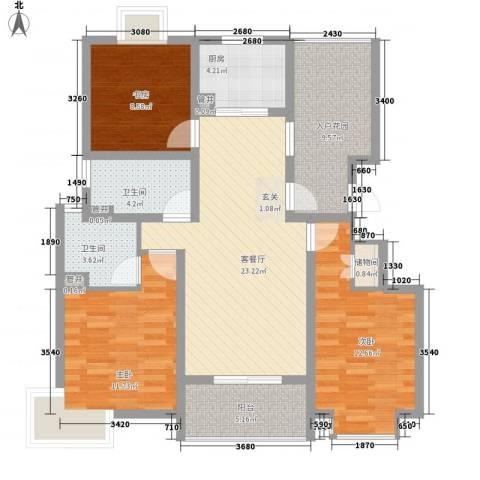 天力・正和花园3室1厅2卫1厨124.00㎡户型图