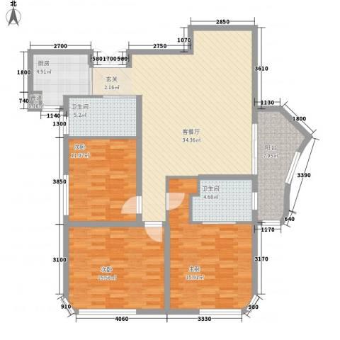蓝湾国际3室1厅2卫1厨134.00㎡户型图