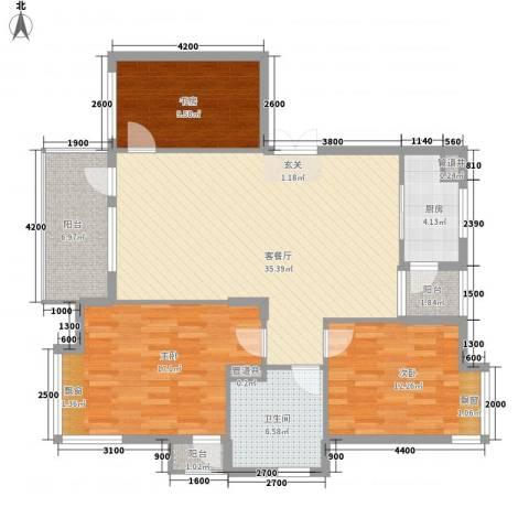 华林都市家园3室1厅1卫1厨133.00㎡户型图