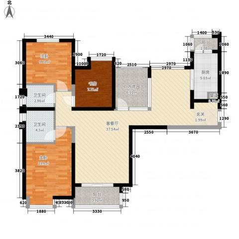 白马服饰广场3室1厅2卫1厨135.00㎡户型图