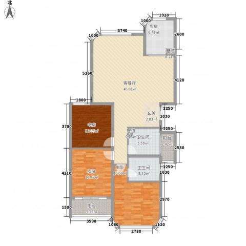 蓝湾国际3室1厅2卫1厨153.00㎡户型图