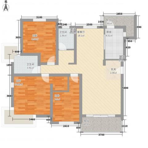 环球奥食卡城3室1厅2卫1厨111.00㎡户型图