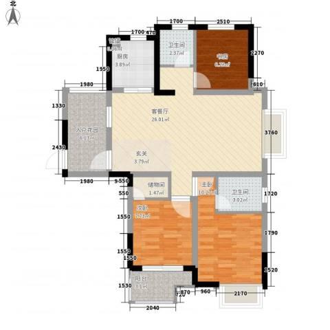 凤鸣公寓3室1厅2卫1厨82.22㎡户型图