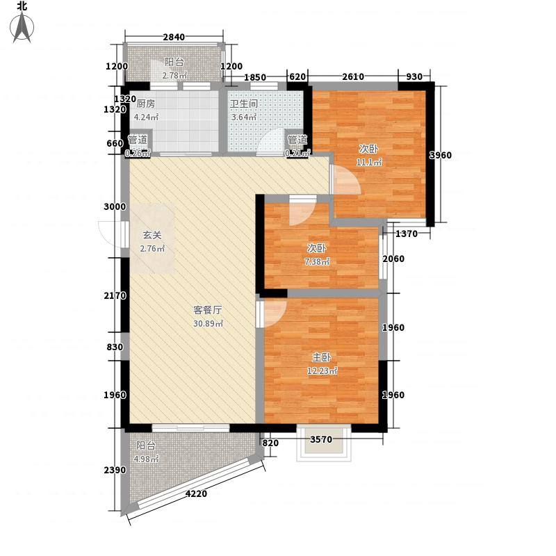 碧桂园十里银滩2号楼标准层F2户型3室1厅1卫1厨