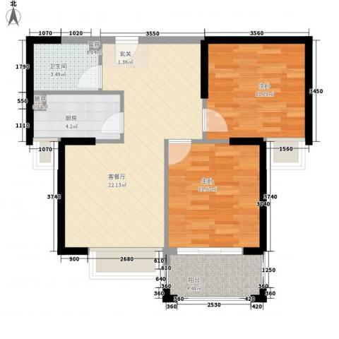 明发商城2室1厅1卫1厨80.00㎡户型图