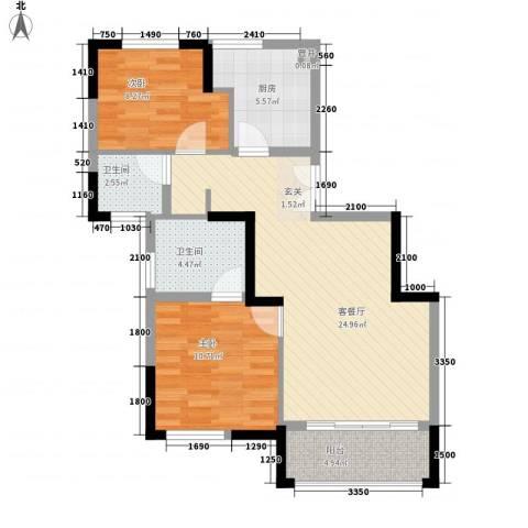 明发商城2室1厅2卫1厨89.00㎡户型图