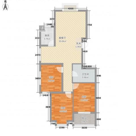 凤凰城3室1厅1卫1厨92.00㎡户型图