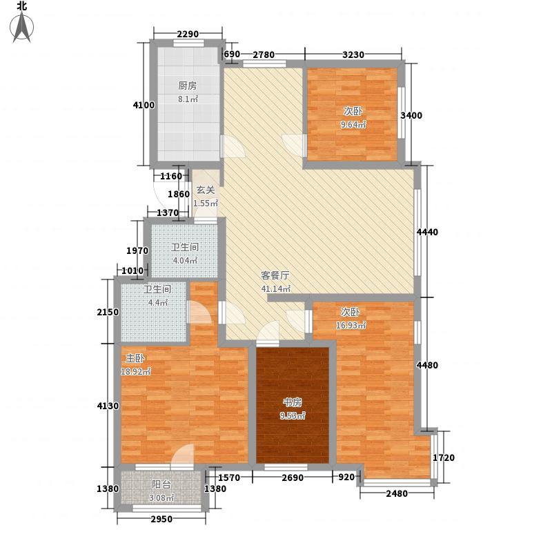 宸阳岛164.00㎡小区3、4、5#楼B4户型4室2厅2卫1厨
