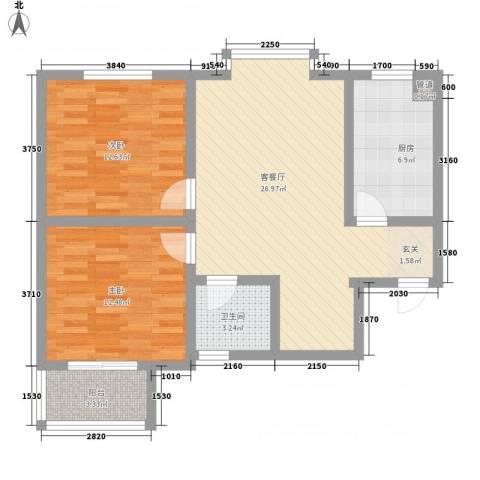 凤凰城2室1厅1卫1厨76.00㎡户型图