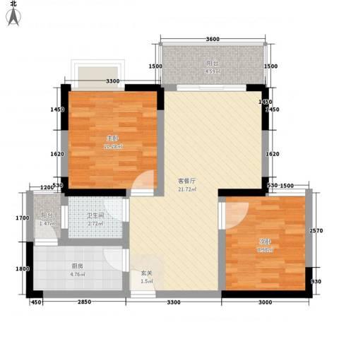 利丰印象望江苑二期2室1厅1卫1厨54.52㎡户型图
