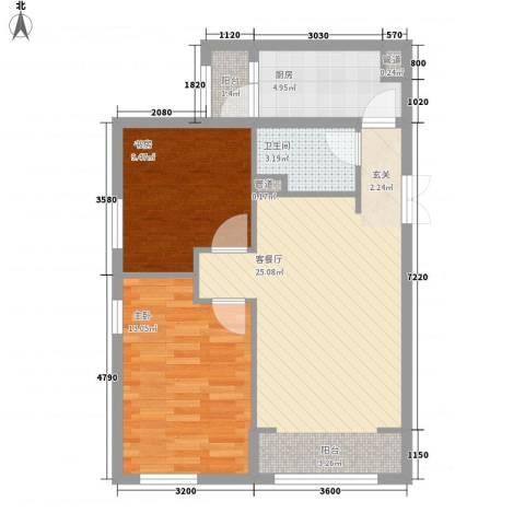 桃园北路外贸宿舍2室1厅1卫1厨82.00㎡户型图