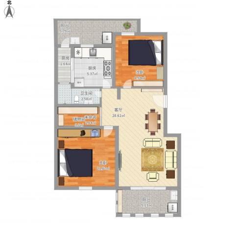 香榭水岸2室1厅1卫2厨101.00㎡户型图