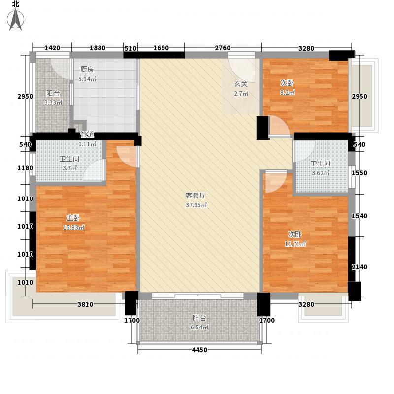 风华丽都127.40㎡二期B3户型3室2厅2卫