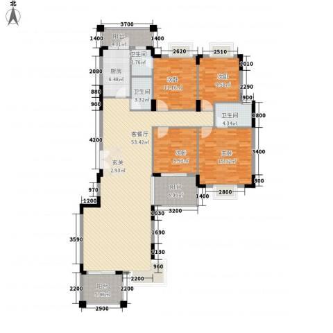 大信海岸家园4室1厅3卫1厨148.00㎡户型图