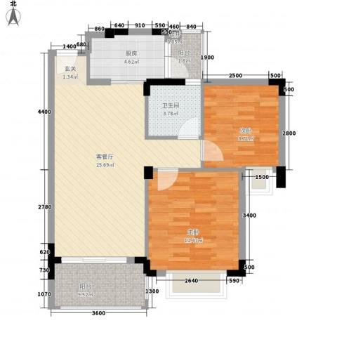 大信芊翠家园2室1厅1卫1厨79.00㎡户型图