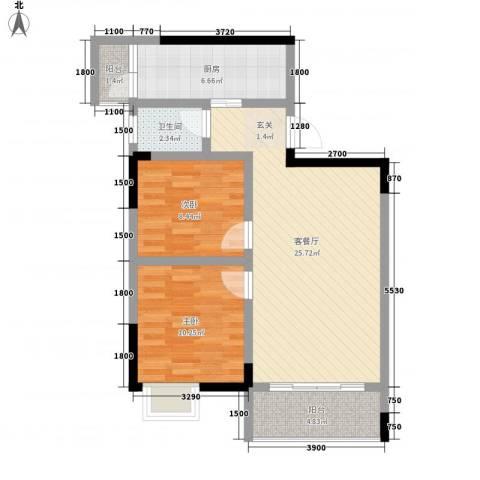 利丰印象望江苑二期2室1厅1卫1厨66.00㎡户型图