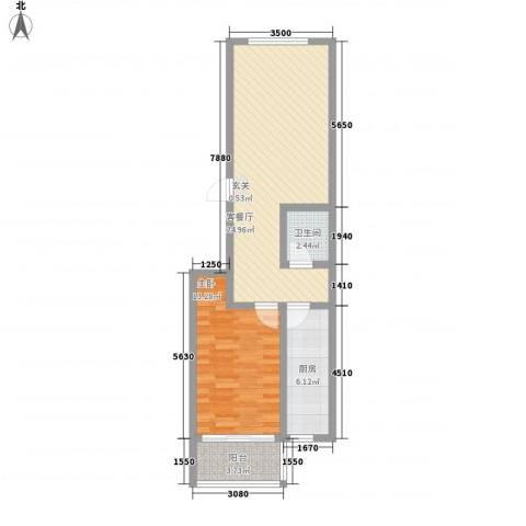 山水庭院1室1厅1卫1厨74.00㎡户型图