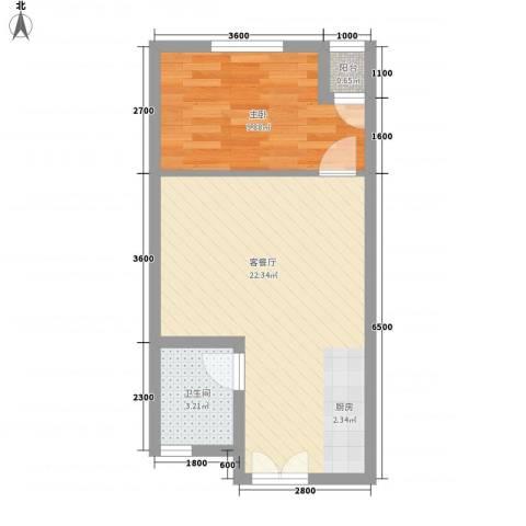 文昌花园1室1厅1卫0厨52.00㎡户型图