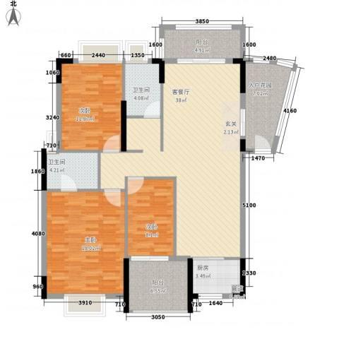 山水芳邻3室1厅2卫1厨128.00㎡户型图