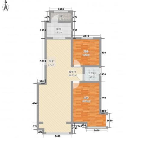 江畔花园2室1厅1卫1厨107.00㎡户型图