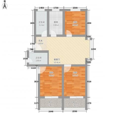 金色水岸3室1厅2卫1厨73.00㎡户型图