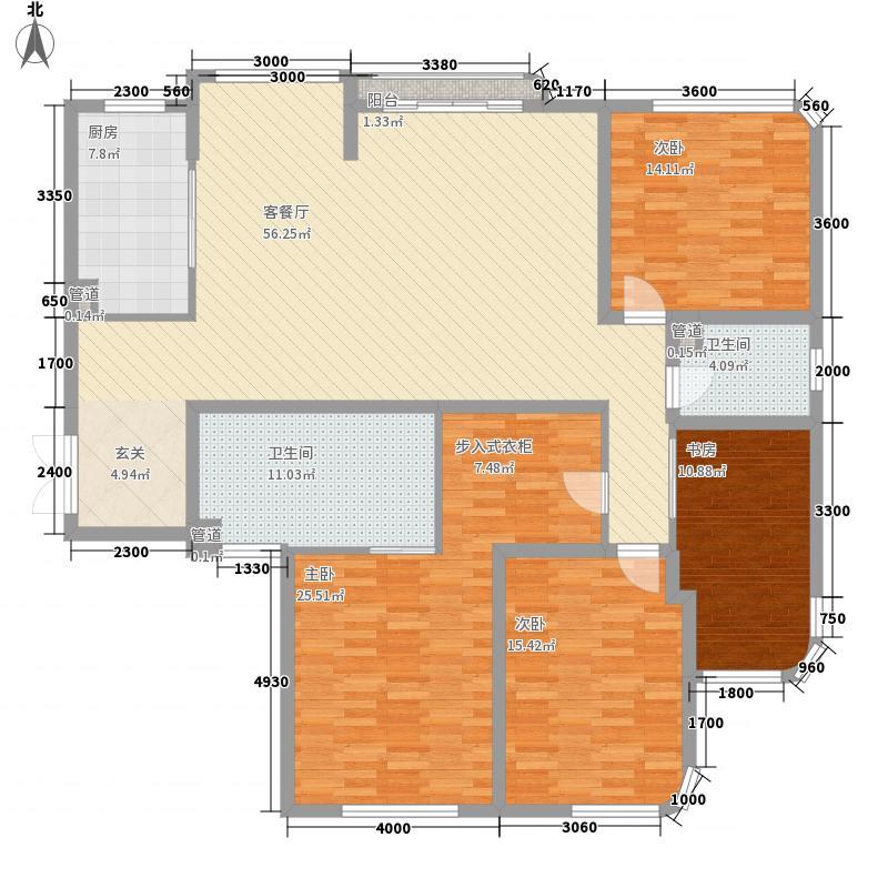 岳口小区户型3室2厅2卫1厨