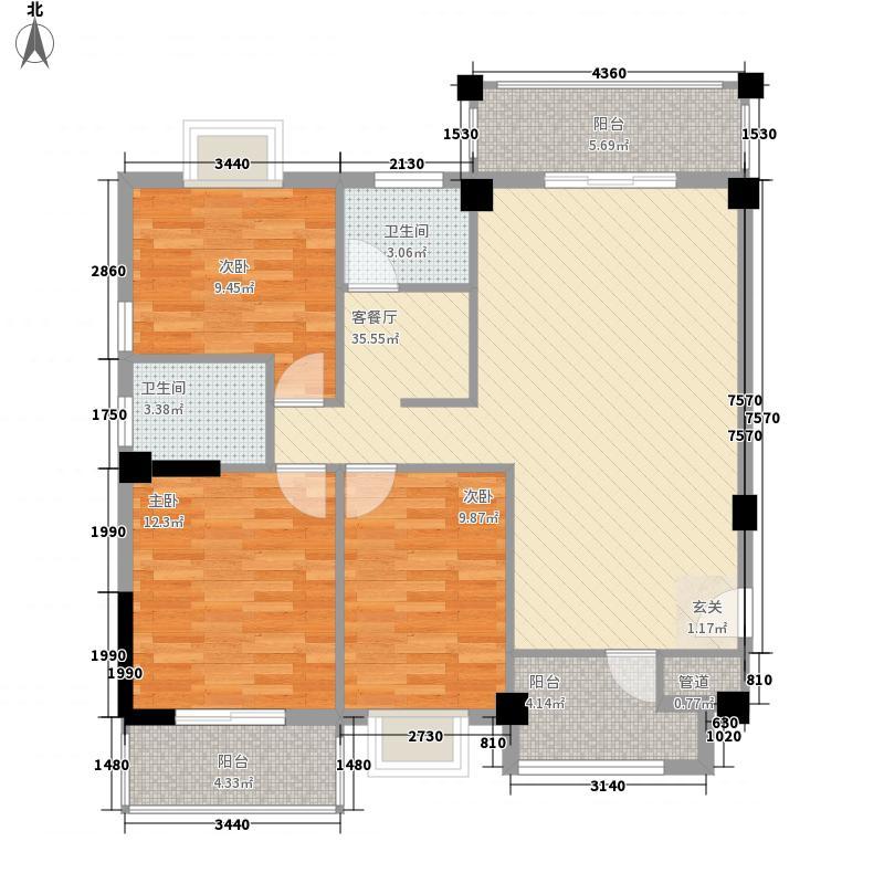 海景明珠124.10㎡1#楼A01、D02单元户型3室2厅2卫1厨