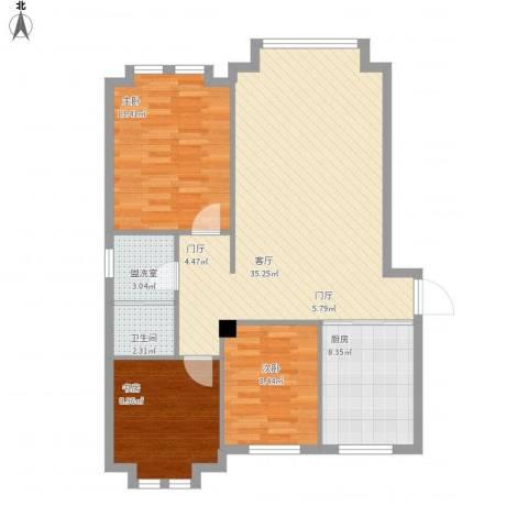远洋广场3室2厅1卫1厨110.00㎡户型图