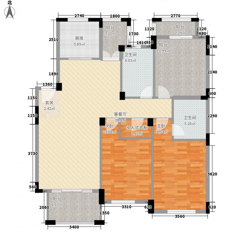 云溪香山127.00㎡P户型3室2厅2卫1厨