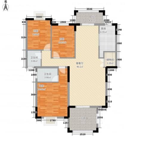 东江学府二期3室1厅2卫1厨138.00㎡户型图