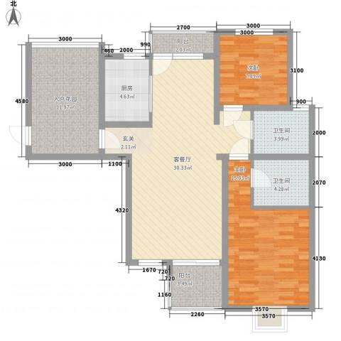 红星小区2室1厅2卫1厨83.65㎡户型图