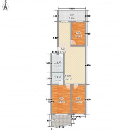 天波嘉和苑3室1厅2卫1厨123.00㎡户型图
