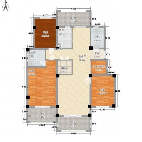 翠颐恬园3室1厅2卫1厨159.00㎡户型图