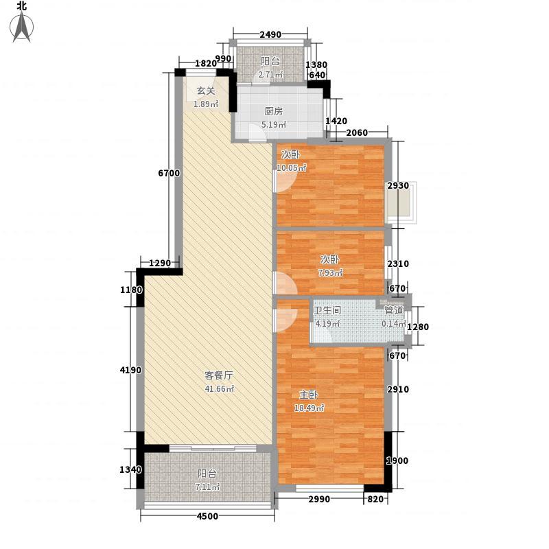 侨园・黄金海岸128.36㎡一期3栋07单位户型3室2厅2卫1厨