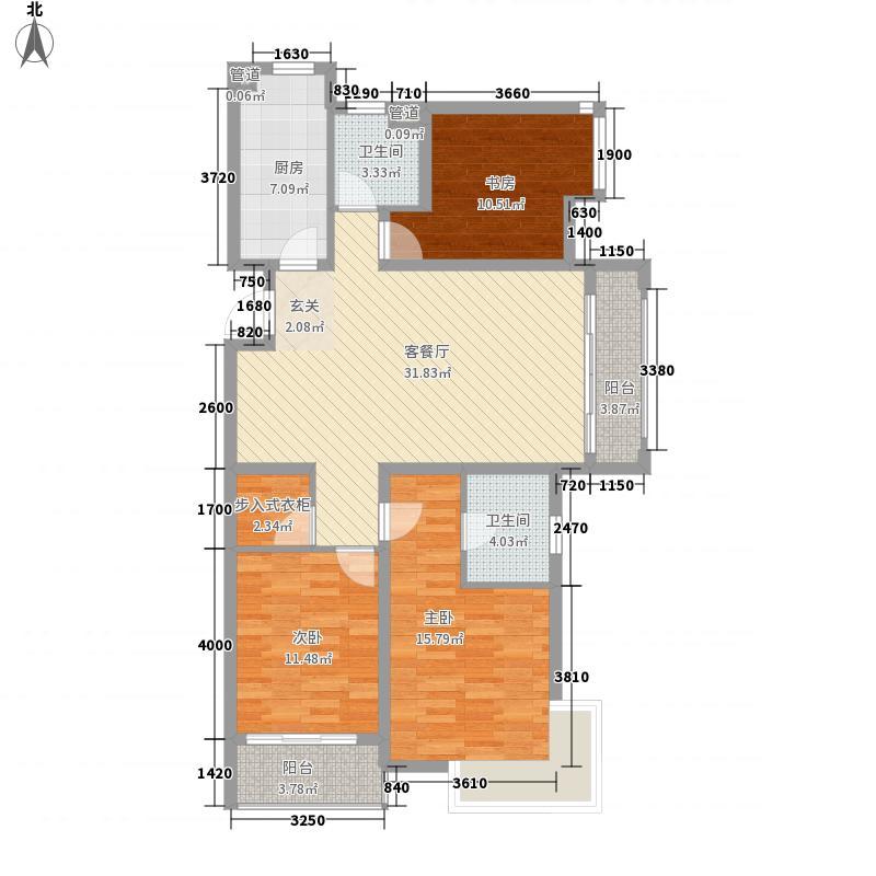 李沧万达广场135.00㎡一期7#楼E户型3室2厅2卫