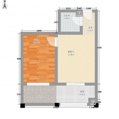 天波嘉和苑1室1厅1卫1厨54.00㎡户型图