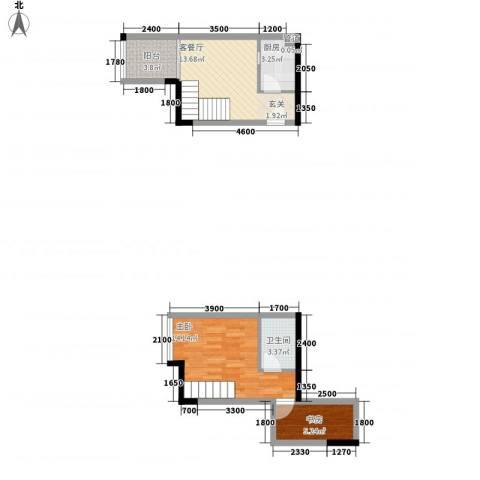 御景华城2室1厅1卫1厨43.54㎡户型图
