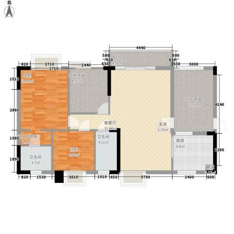 碧河四期水云天公馆2室1厅2卫1厨94.79㎡户型图