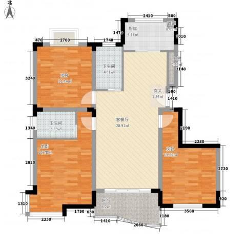 丰泽华庭3室1厅2卫1厨128.00㎡户型图