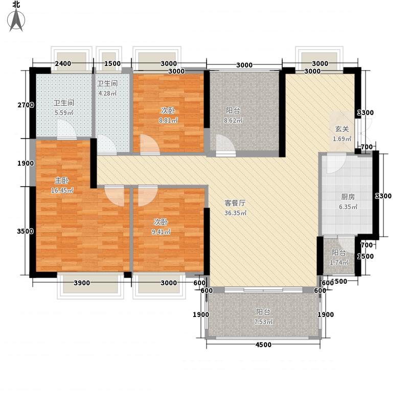 中核・半岛城邦137.20㎡A1户型3室2厅2卫1厨