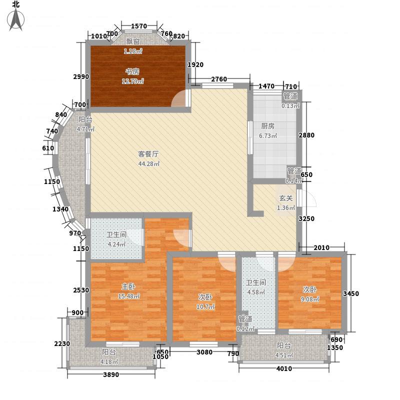 青特汇豪景苑173.00㎡B2标准层户型4室2厅2卫